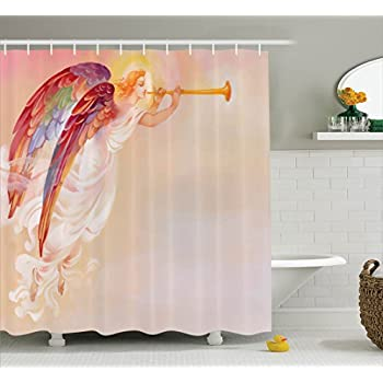 Gentil Fantasy Shower Curtain By Ambesonne, Pure Angel Religious Figure With His  Flask Wings Protection Hope