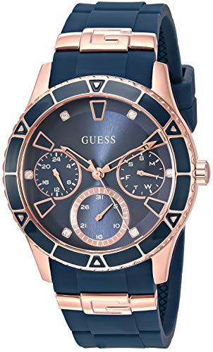 GUESS Women's Quartz Stainless Steel Watch, Color:Blue (Model: - Gold Rose Guess Watch