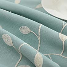 """Tina Cotton Linen Leaf Embroidered 20x20"""" Cloth Napkin Set of 6 for Dinner Everyday Use, Blue"""
