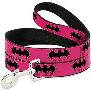 "Buckle Down Pet Leash - Bat Signal-3 Fuchsia/Black/Fuchsia - 6 Feet Long - 1/2"" Wide"