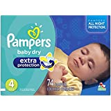 Pampers Baby Dry Extra Protection Diapers Super Pack, Size 4, 74 Count (Packaging May Vary)
