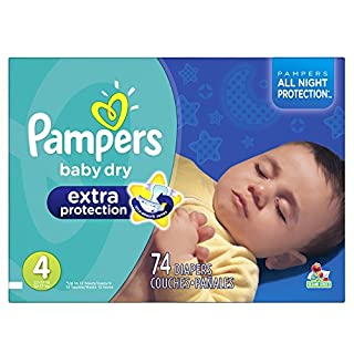 Pampers Baby-Dry Extra Protection Disposable Diapers Size 4, 74 Count, SUPER