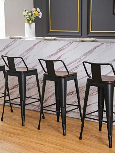 Changjie Furniture 26 Inch Metal Bar Stool Low Back Industrial Barstools Kitchen Counter Bar Stools Set of 4 (26 inch, Low Back Black with Wooden Top)