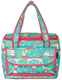 Tackle & Tides Palm Leaves 16 Can Cooler Tote One Size Aqua Blue//Pink
