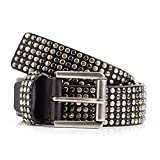 Womens Black Studded Leather Belt (36)