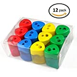 Mega Set Of 12 Double Hole Triangular Shaped Pencil Sharpener With Cover and Receptacle! Comes In 4 Colors- Red, Blue, Yellow, and  Green!