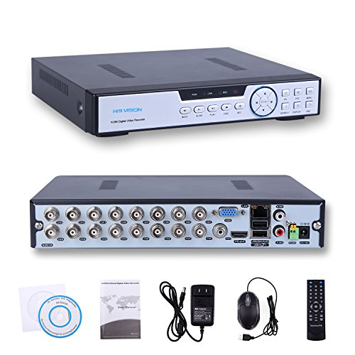 HISVISION 16CH 1080N AHD DVR 3-in-1 HVR (1080P NVR+1080N AHD/960H Analog+960P Hybrid) Real-Time Surveillance Security DVR HDMI/VGA Output P2P Cloud Mobile QR Scan Remote Access Motion Detection-No HDD - Logan Wall Mirror