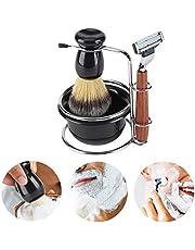 4-in-1 scheerkwastenset scheerapparaat voor mannen scheerset scheerkwast en scheerstandaard met zeepschaalset, compatibel met handmatig scheerapparaat