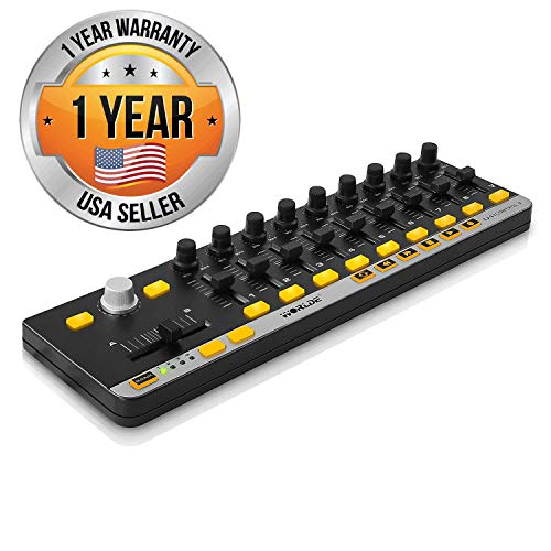 Pyle USB MIDI Controller Board - Mini Portable Workstation Equipment w/ 9 Faders, Knobs, & DJ Transport Buttons - Control DAW Software Kit for Laptop Electronic Music Recording Production - -