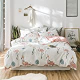 Fresh Birds Print Kids Duvet Cover Set Summer Floral Twin Bedding Set Cotton Girls Duvet Cover Set Reversible Children Bedding Cover Set for Teens Adults Twin Bedding Collection, Style4