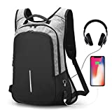 Anti-theft Smart Laptop Backpack with USB Charging Port & Headphone Hole, Professional Business Travel Computer Rucksack College Student School Casual Daypack for Men Women - Grey