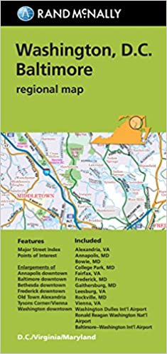 Folded Map Washington DC Baltimore MD Regional Rand Mcnally Regional ...