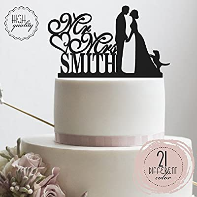 Personalized Wedding Cake Topper with Dog, Mr and Mrs Cake Topper Letters, Monogram Wedding Cake Topper