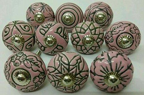 Vintage Look 10 Ceramic Knobs Zoya's Hand Carved Ceramic Knobs Handmade Ceramic Door Knobs Kitchen Cabinet Drawer Pulls Kid's Badroom Knobs by Zoya's (Pink) (Carved Ceramic)
