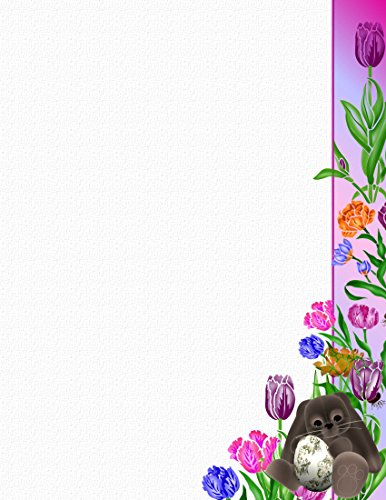 Bunny Stationery Easter (Brown Easter Bunny & Flowers Stationery Printer Paper 26 Sheets)
