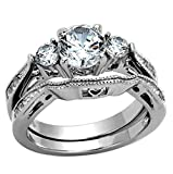 FlameReflection Round Cubic Zirconia Women Wedding Ring Set Stainless Steel Bride Engagement Ring Size 5-11 SPJ