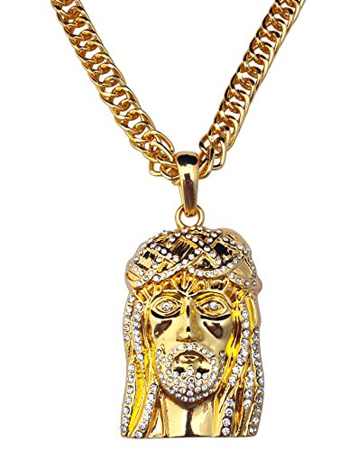 Expression Jewelry 24k Gold Plated Hip Hop Style Jesus Piece Face of Christ Iced Out with Rope Chain Hip-Hop Style Necklace -