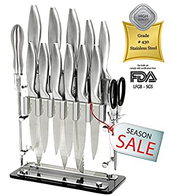 6 Pc. Stainless Steel Kitchen Gadgets Appliances Cutlery Knife Block Set