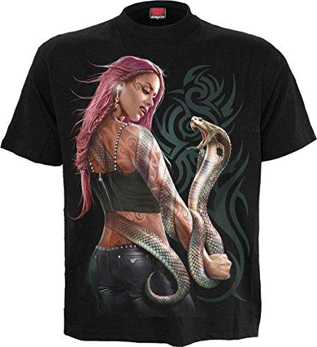 (Spiral - Mens - Serpent Tattoo - T-Shirt Black - XL)