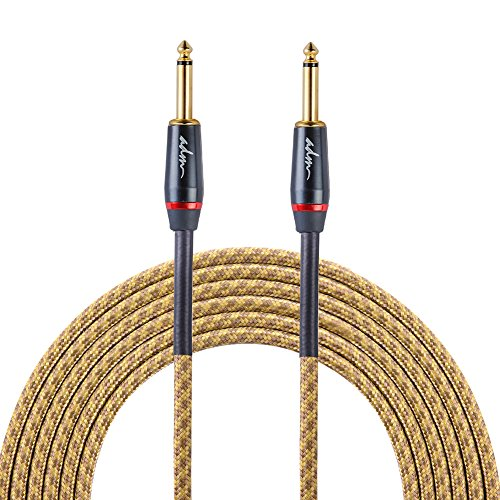ADM 10FT 3M Straight to Straight Noiseless Musical Instruments Electric Guitar & Bass Cable, Studio Quality Guitars & Bass Amp Cord, Yellow Tweed Woven Jacket