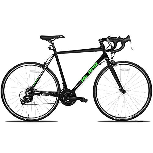 Hiland Road Bike,Adult Alumilum 700C Road Racing Bicycle for Men,Urban Commuter Bike for Boys,Shimano 21 Speed Bike,Black