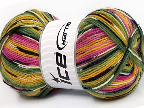 ((1) 100 Gram Super Sock, Pink Green Yellow Black White + Self-Patterning Superwash Wool Sock Yarn)