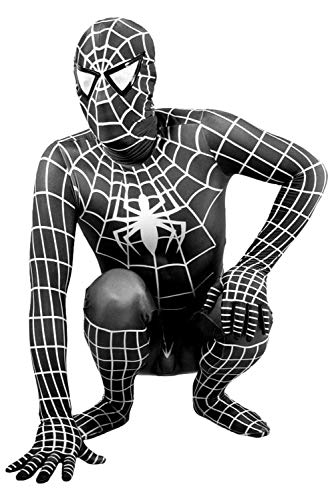 Newhui Teens Kids Halloween Spider Black Lycra Zentai Costume Bodysuit Cosplay Mask -