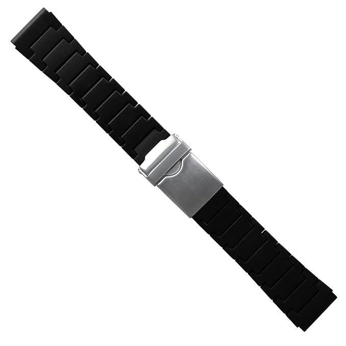 Poliuretano Negro Link Pulsera Reloj Banda 24 mm - PU66 ...