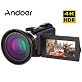 Video Camcorder, Andoer 4K Digital Video Camera 2880 x 2160 48MP HD 3inch Touchscreen Handy Camera with IR Night Sight Support 16X Zoom 128GB Max Storage Christmas Valentine's Gift Present