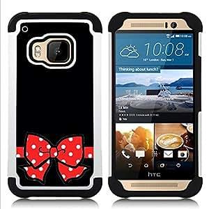- Minnie black polka dot red bow gift - - Doble capa caja de la armadura Defender FOR HTC ONE M9 RetroCandy