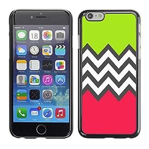 TopCaseStore / la caja del caucho duro de la cubierta de protección de la piel - Green Pink White Pattern - Apple iPhone 6 Plus 5.5