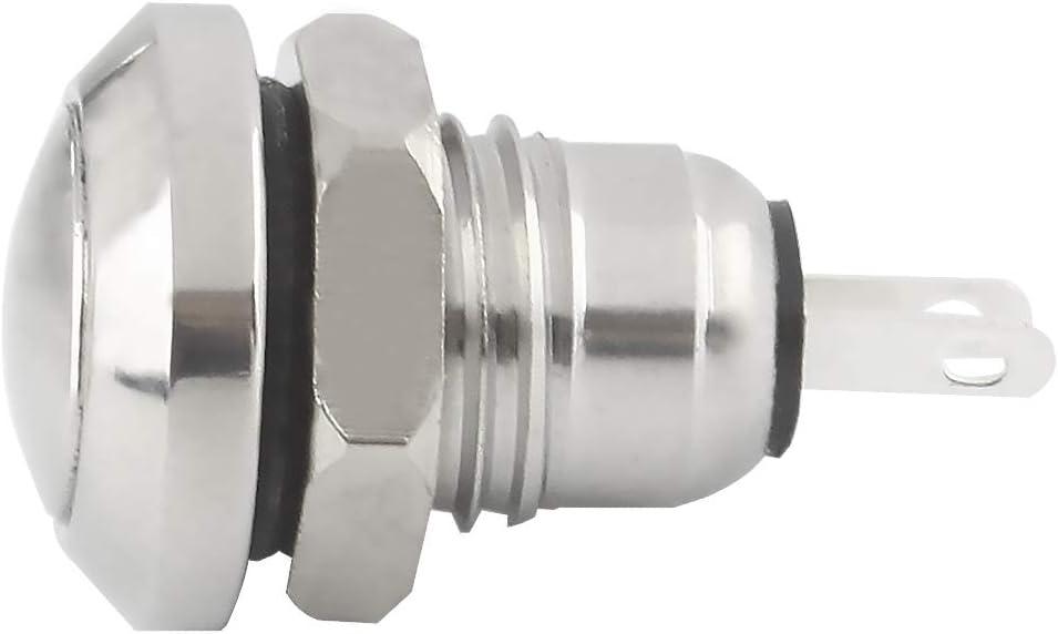 Larcele 8mm Mini Impermeabile DIY Pulsante Metallo Rotondo Spingere Pulsante di Ritorno Automatico,5 Pezzi JSANKG-16 Rosso