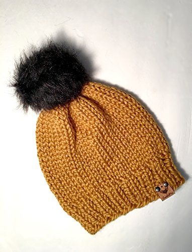 Winter Gold Pompom Beanie, Gifts for Mom, Size Newborn-Adult