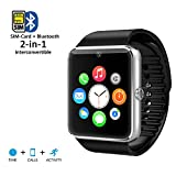 Indigi GT8-SV-CP01 2-in-1 GSM + Bluetooth Smartwatch Phones Built-in Camera AT&T T Mobile Unlocked! - Silver