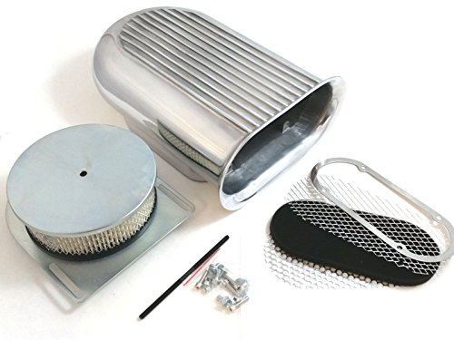 Polished Aluminum Hilborn Style Full Finned Hood Air Scoop Kit Single 4 BBL Carb (Kit Hood Air)
