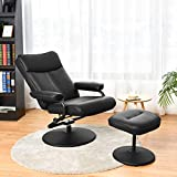 Giantex Swivel Recliner Chair with Footrest Stool Ottoman, PVC Leather Lounge Armchair, 360 Degree Swivel Overstuffed Padded Seat Chair, Leather Recliner and Ottoman Set (Black)