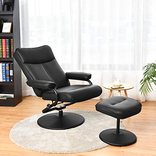 Giantex Swivel Recliner Chair with Footrest Stool Ottoman, PVC Leather Lounge Armchair, 360 Degree Swivel Overstuffed Padded Seat Chair, Leather Recliner and Ottoman Set (Black) (Seat Swivel Pvc Stools Black)
