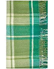 Cozy Wool Blanket, 100% New Zealand Wool Mojito Splash, Tartan Design, Green, Queen Size