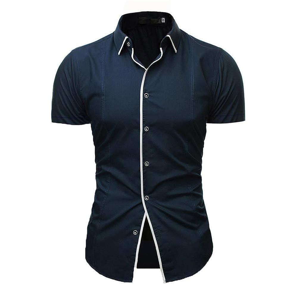 TQF1 Button Down Short Sleeve Mens Shirts Slim Fit Business Shirt