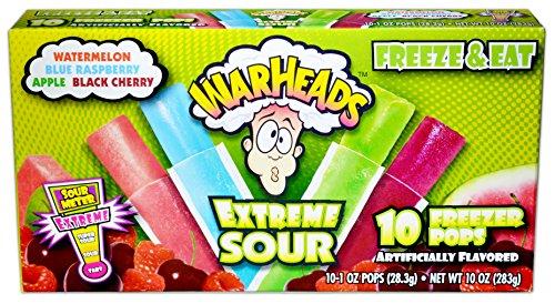 Warheads Extreme Sour - Single Box - 10 Freezer Popsicles - Flavors: Watermelon, Blue Raspberry, Apple, Black Cherry -