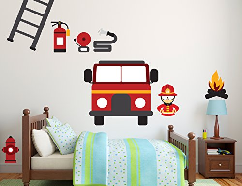 Firefighter Station Rescue Team DIY - Boy Girl Room - Mural Wall Decal Sticker For Home Car Laptop 31D(Wide 48'' x 15'' Height) by e-Graphic Design Inc