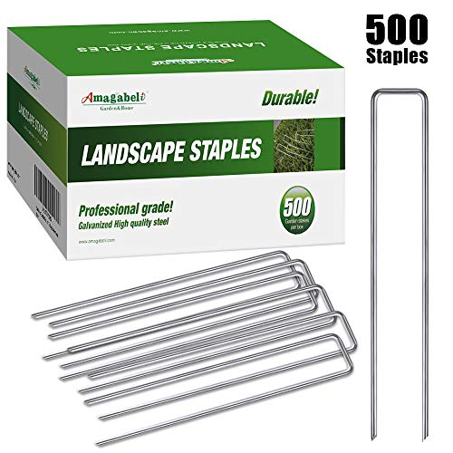 Amagabeli 6 Inch Garden Stakes Galvanized Landscape Staples 11 Gauge 500 Pack Anti-Rust Heavy Duty Sod Pins Fence Stakes for Anchoring Fabric Weed Barrier Ground Cover Soaker Hose Irrigation Tubing