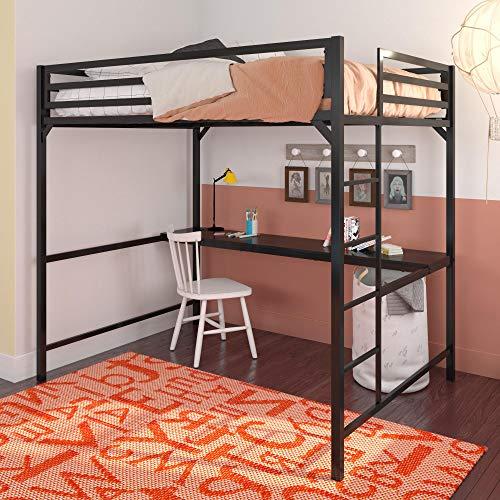 DHP Miles Full Metal Loft Bed with Desk, Black