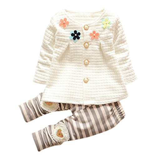 Baby Clothes, Egmy Newest Cute Baby kids Girls Warm Cotton Flower Long Sleeve Cardigan+Long Pants Clothing Sets (2T, White)