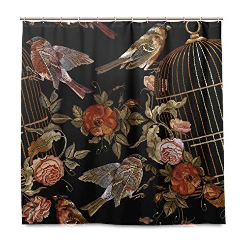MIGAGA Decoration Shower Curtain Shower Embroidery Vintage Birds Cage Flowers Seamless Bath Curtains Waterproof Fabric Bathroom Decor Set with Hooks 47X64inch (Vintage Bird Cage Shower Curtain)