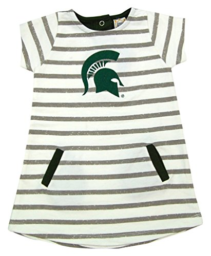 Little King NCAA Michigan State Spartans Striped Dress with Team Color Trim, 4T, Ivory