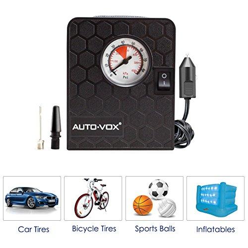 [해외]AUTO-VOX 휴대용 소형 공기 압축기 공기 펌프 타이어 팽창기, 3 개의 노즐 접합기 & amp; /AUTO-VOX Portable Mini Air Compressor Air Pump Tire Inflator,3 Nozzle Adapters & Pressure Gauge & LED light, For Cars, Bicycles and B...