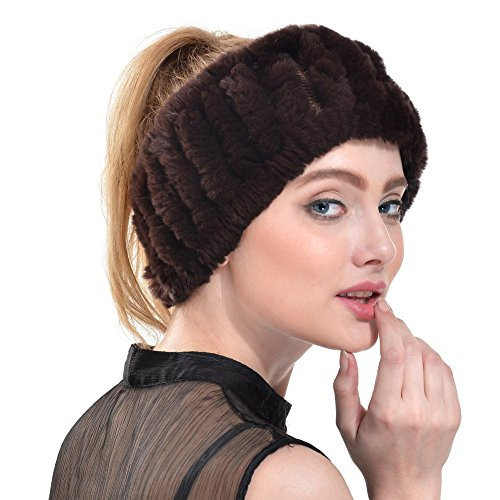 Queenfur Real Knit Rex Rabbit Fur Headbands Winter Fur Scarf Muffler (Coffee)