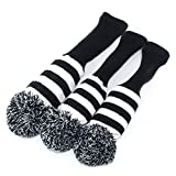 Knit 3pcs Headcover Set Vintange Pom Pom Sock Covers 1-3-5 You choose color and style (Black & White)