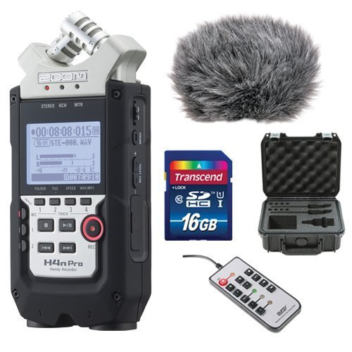 Zoom H4n Pro 4-Channel Handy Recorder Bundle with Custom Windbuster for Zoom H4n, SKB Case, Remote Control for Zoom H4n and 16GB SD Card (Bundle Zoom)
